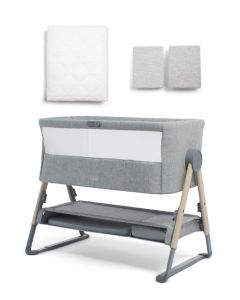 Mamas & Papas Lua Bedside Crib Bundle with Mattress Protector & Fitted Sheets - Stripe / Grey Marl