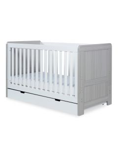 ickle bubba Pembrey Cot Bed and Under Drawer - Ash Grey and White