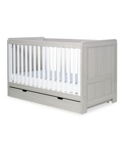ickle bubba Pembrey Cot Bed and Under Drawer - Ash Grey and White Trend