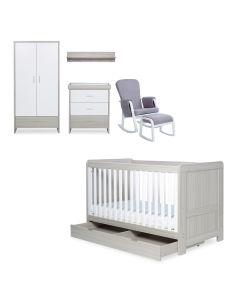 ickle bubba Pembrey 8 Piece Furniture Bundle - Ash Grey and White Trend