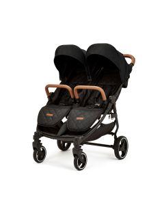 Ickle Bubba Venus Max Double Stroller - Black/Black/Tan