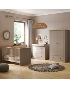 Little Acorns Sophia 3 Piece Nursery Room Set - Grey and Oak