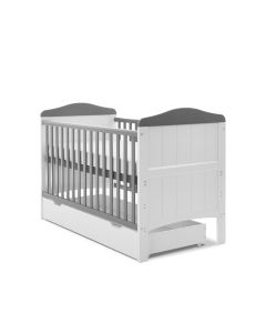 Obaby Whitby Cot Bed & Underdrawer - White with Taupe Grey