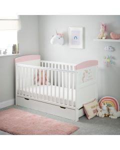 Obaby Grace Inspire Cot Bed & Underdrawer - Unicorn
