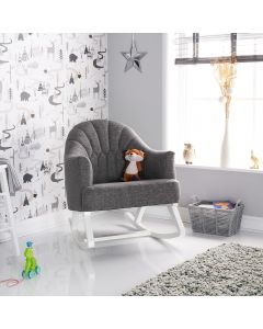 Obaby Round Back Rocking Chair - White with Grey Cushion