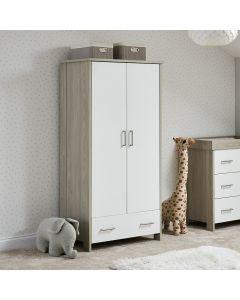 Obaby Nika Double Wardrobe - Grey Wash & White