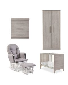ickle bubba Grantham Mini 5 Piece Furniture incl Foam Mattress Grey Oak