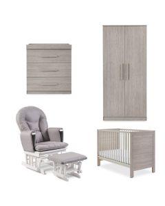 ickle bubba Grantham Mini 5 Piece Furniture incl Sprung Mattress Grey Oak