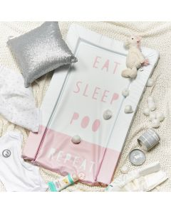 Obaby Changing Mat - Eat Sleep Repeat Pink