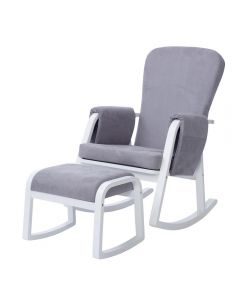 ickle bubba Dursley Rocking Chair and Stool Pearl Grey