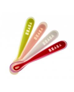 Beaba Set of 4 Ergonmic 1st Age Silicone Spoons - Neon/Nude/White/Red
