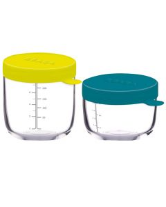 Beaba Set of Conservation Jars in Superior Quality Glass (1*150ml Blue/1*250ml Neon)