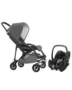 Bugaboo Bee5 Classic Pushchair Grey Melange and Maxi Cosi Pebble Pro Car Seat