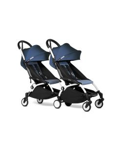 BABYZEN YOYO2 Double Pushchair from 6 Months+ for Twins - White/Air France Blue
