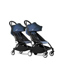 BABYZEN YOYO2 Double Pushchair from 6 Months+ for Twins - Black/Air France Blue