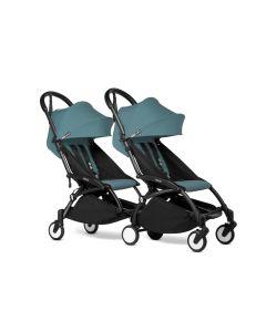 BABYZEN YOYO2 Double Pushchair from 6 Months+ for Twins - Black/Aqua