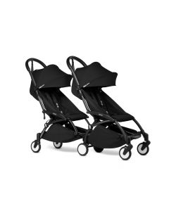 BABYZEN YOYO2 Double Pushchair from 6 Months+ for Twins - Black/Black