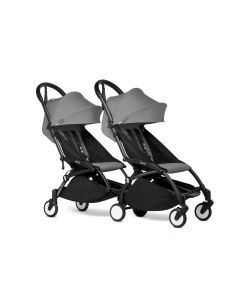 BABYZEN YOYO2 Double Pushchair from 6 Months+ for Twins - Black/Grey