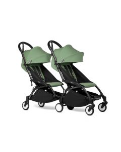 BABYZEN YOYO2 Double Pushchair from 6 Months+ for Twins - Black/Peppermint
