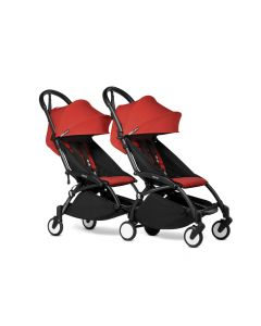 BABYZEN YOYO2 Double Pushchair from 6 Months+ for Twins - Black/Red