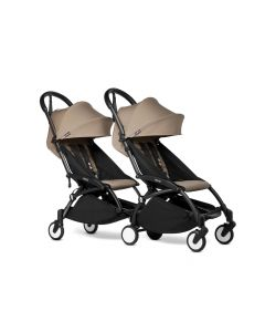 BABYZEN YOYO2 Double Pushchair from 6 Months+ for Twins - Black/Taupe