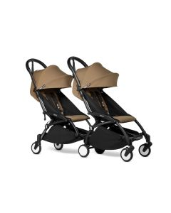 BABYZEN YOYO2 Double Pushchair from 6 Months+ for Twins - Black/Toffee
