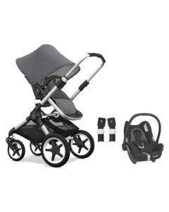 Bugaboo Fox Alu/Grey Melange Pushchair and Maxi Cosi CabrioFix Car Seat