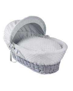 Clair De Lune Dimple Grey Wicker Moses Basket - Grey