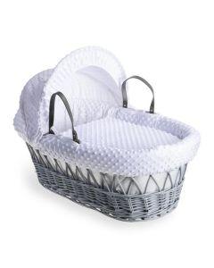 Clair De Lune Dimple Grey Wicker Moses Basket - White