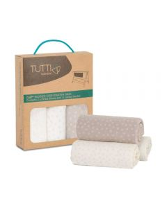 Tutti Bambini CoZee Fitted Sheets (2 Pack) - Neutral/Pebble