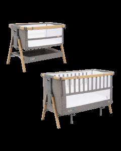 Cozee XL Bedside Crib & Cot - Oak/Charcoal
