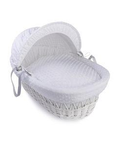 Clair De Lune Dimple White Wicker Moses Basket - White