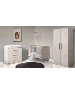 ickle bubba Grantham Mini 4 Piece Furniture incl Sprung Mattress Grey Oak