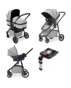 ickle bubba Moon 3 in 1 Galaxy Travel System with ISOFIX Base - Silver Grey