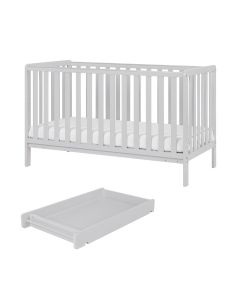 Tutti Bambini Malmo Cot Bed with Cot Top Changer & Mattress - Dove Grey