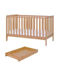 Tutti Bambini Malmo Cot Bed with Cot Top Changer & Mattress - Oak