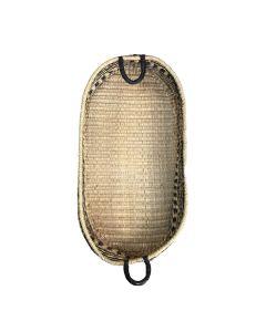 Mama Designs Seagrass Changing Basket Patterned Vegan Leather Handles (Black)