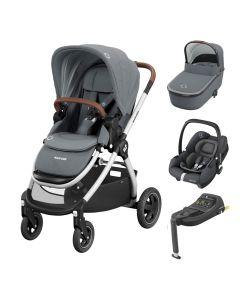 Maxi Cosi Adorra 2 Stroller, Oria Carrycot, Tinca Car Seat & Base - Essential Grey