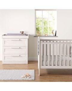 Mamas & Papas Atlas 2 Piece Cotbed & Dresser Set - Nimbus White