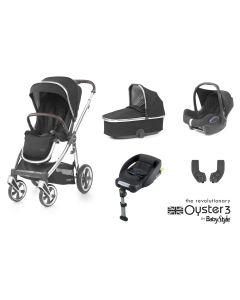 BabyStyle Oyster 3 Essential 5 Piece Cabriofix Bundle - Mirror/Caviar