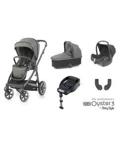 BabyStyle Oyster 3 Essential 5 Piece Cabriofix Bundle - City Grey/Mercury