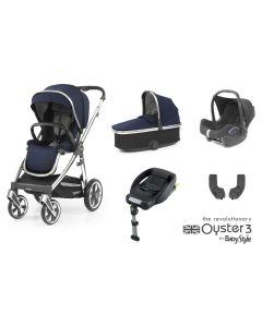 BabyStyle Oyster 3 Essential 5 Piece Cabriofix Bundle - Mirror/Rich Navy
