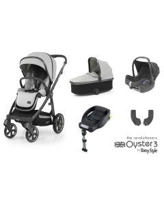 BabyStyle Oyster 3 Essential 5 Piece Cabriofix Bundle - City Grey/Tonic