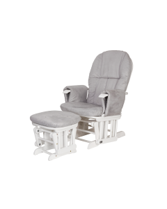 Tutti Bambini Reclining Glider Chair and Stool White with Grey Cushions
