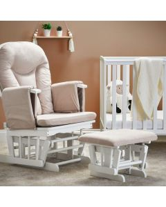 Obaby Deluxe Reclining Glider Chair and Stool - White with Sand Cushion