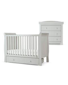 Mamas & Papas Mia Sleigh 2 Piece Cot & Dresser Set - Stone Grey