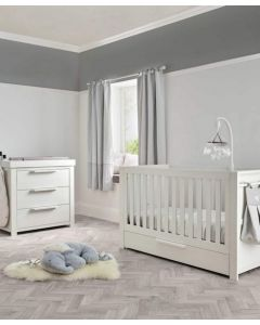 Mamas & Papas Franklin 2 Piece Cot Bed & Dresser Set - White Wash