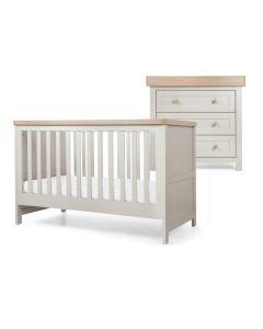 Mamas & Papas Keswick 2 Piece Cotbed & Dresser Set  - Grey/Oak