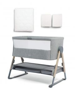 Mamas & Papas Lua Bedside Crib Bundle with Mattress Protector & Fitted Sheets - Star / White