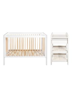 Troll Lukas 2PC Cot Bed and Changing Table - White/Natural